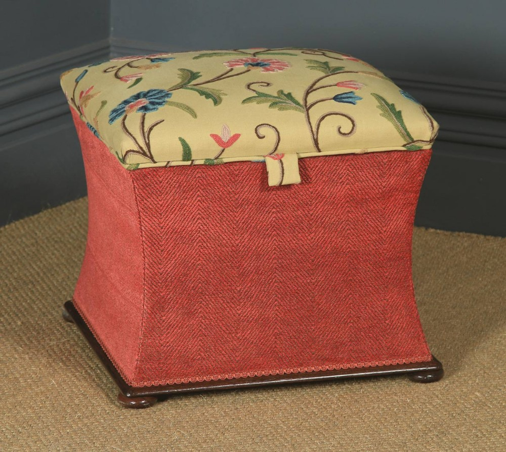 antique english victorian mahogany crewel work upholstered concave ottoman box stool trunk circa 1870