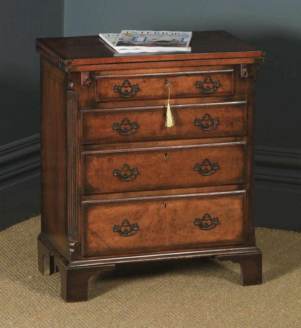 antique english small georgian style edwardian burr walnut bachelors chest of drawers writing table desk circa 1910