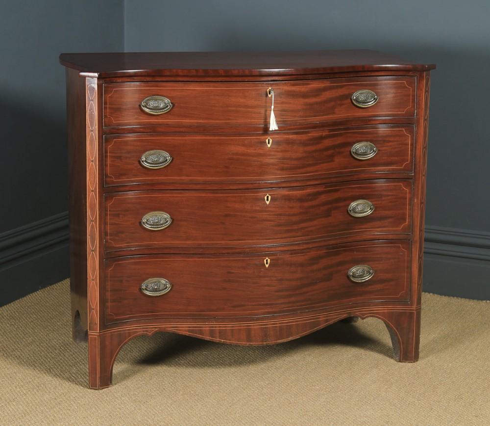 antique english georgian regency mahogany inlaid serpentine chest of drawers circa 1810