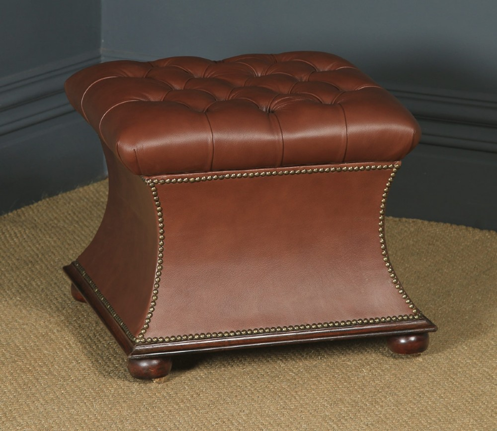 antique english victorian mahogany brown leather upholstered concave ottoman box circa 1870
