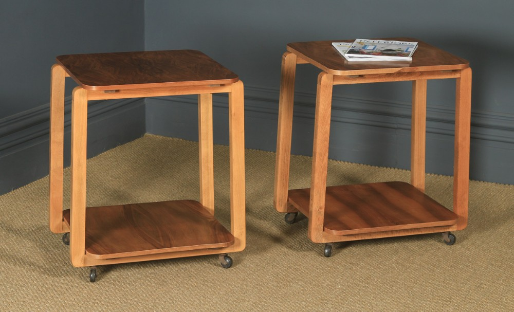 pair of art deco english walnut square two tier occasional coffee bedside side tables circa 1930