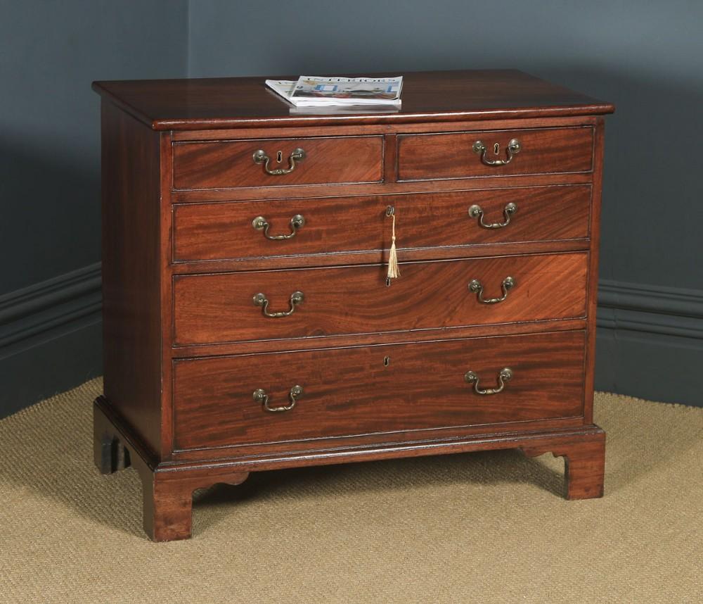 small antique english georgian flame mahogany bachelors chest of drawers circa 1760