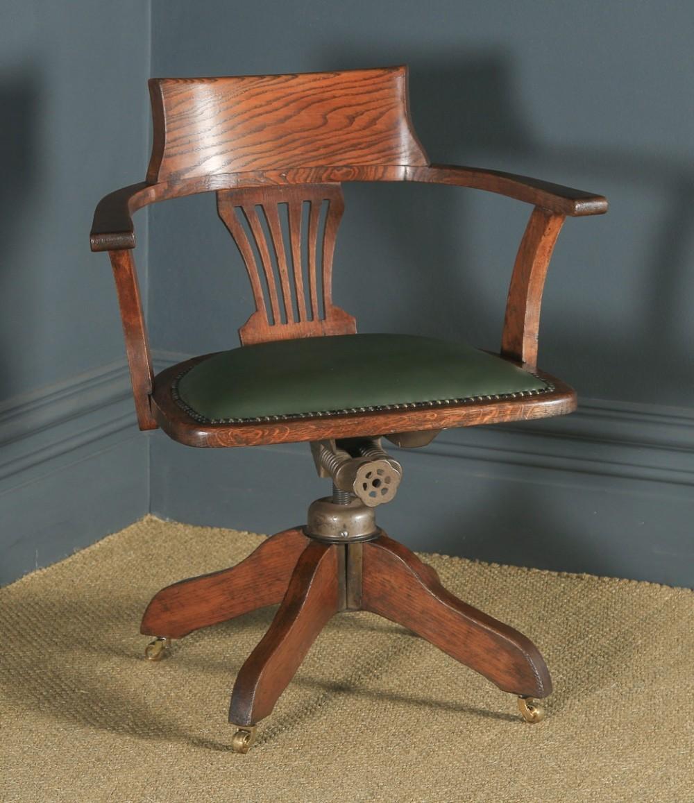 antique english edwardian oak green leather revolving office desk arm chair circa 1910