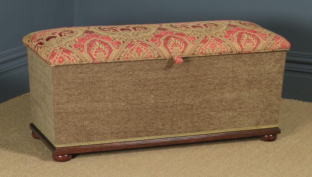 antique english victorian mahogany upholstered ottoman circa 1880