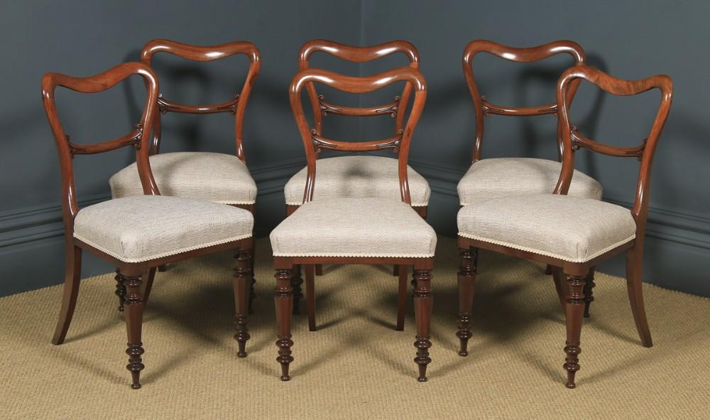 antique english victorian set of six 6 mahogany balloon back dining chairs circa 1860