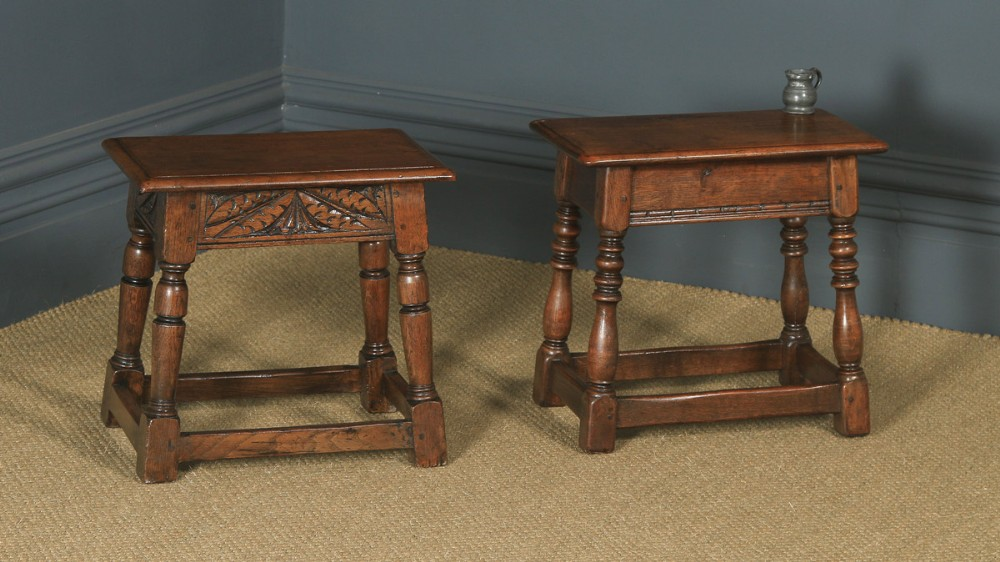 antique english pair of 17th century style solid oak joint stools circa 1920