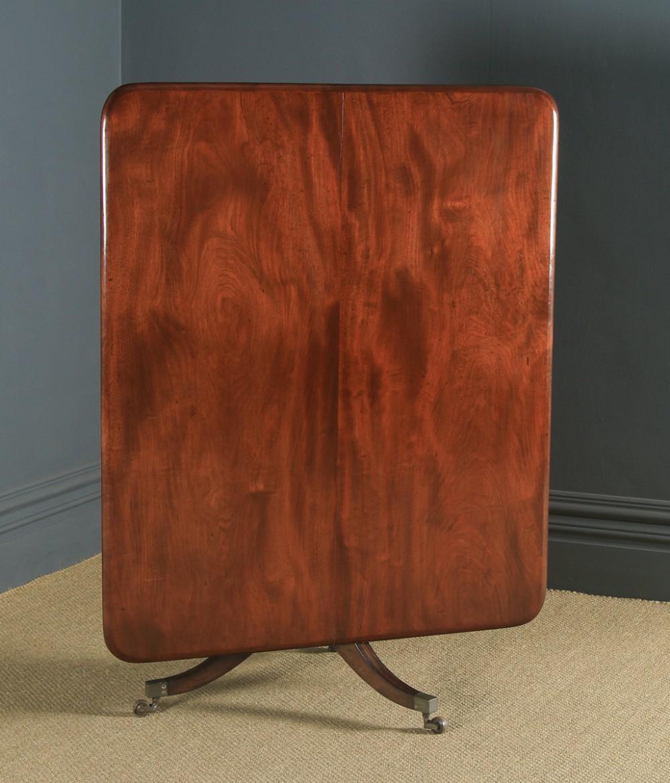antique english georgian regency figured mahogany tilt top breakfast pedestal dining table circa 1820