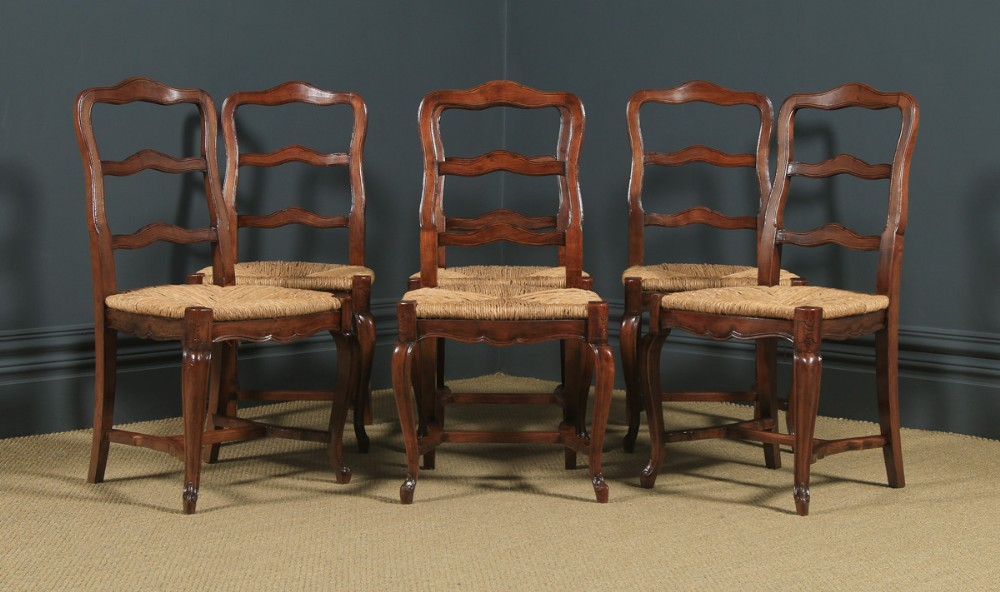 antique french set of 6 six louis xv style cherry wood ladder back kitchen dining chairs circa 1880