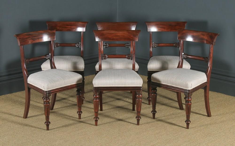 antique english william iv set of six mahogany bar back dining chairs circa 1835