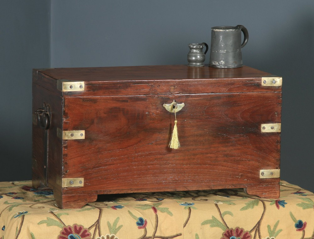 antique angloindian victorian colonial teak brass mounted campaign chest trunk circa 1870