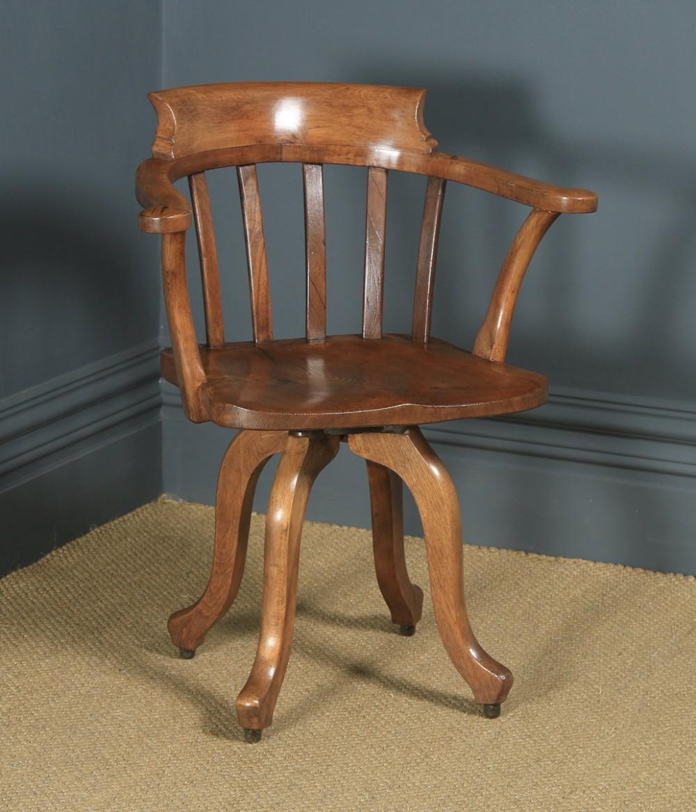 antique english edwardian beech birch elm revolving office desk arm chair circa 1910