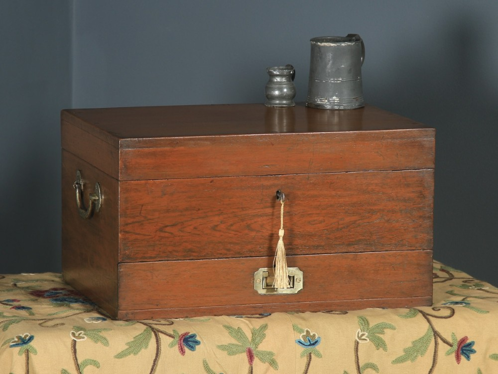 antique angloindian victorian colonial campaign teak brass writing box storage chest circa 1880