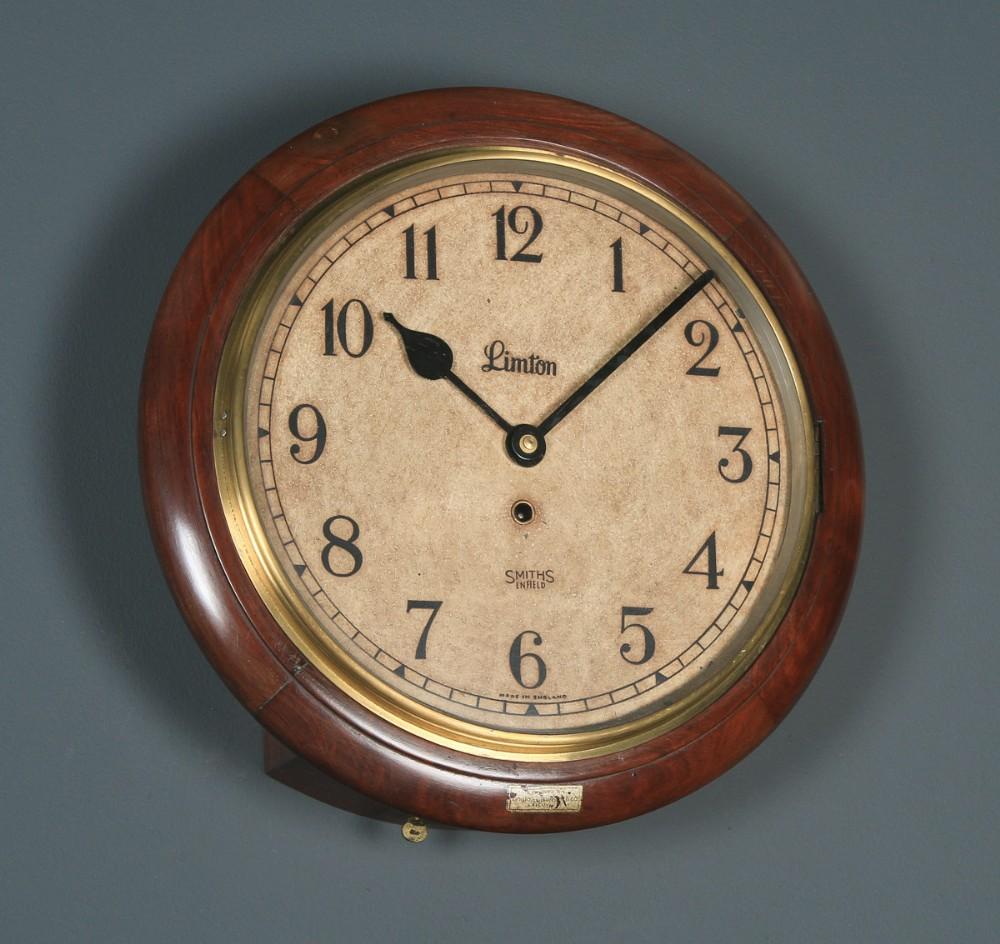 antique 15 mahogany smiths enfield limton railway station school round dial wall clock timepiece