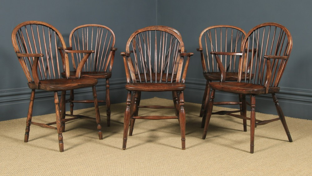 antique english set of six 6 victorian ash elm windsor stick hoop back kitchen dining arm chairs circa 1850