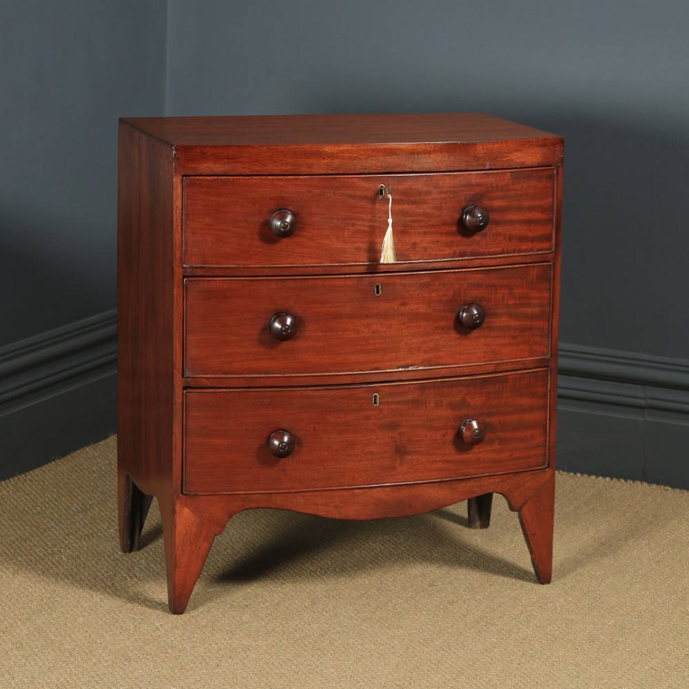 small antique english georgian regency mahogany bow front chest of drawers circa 1820