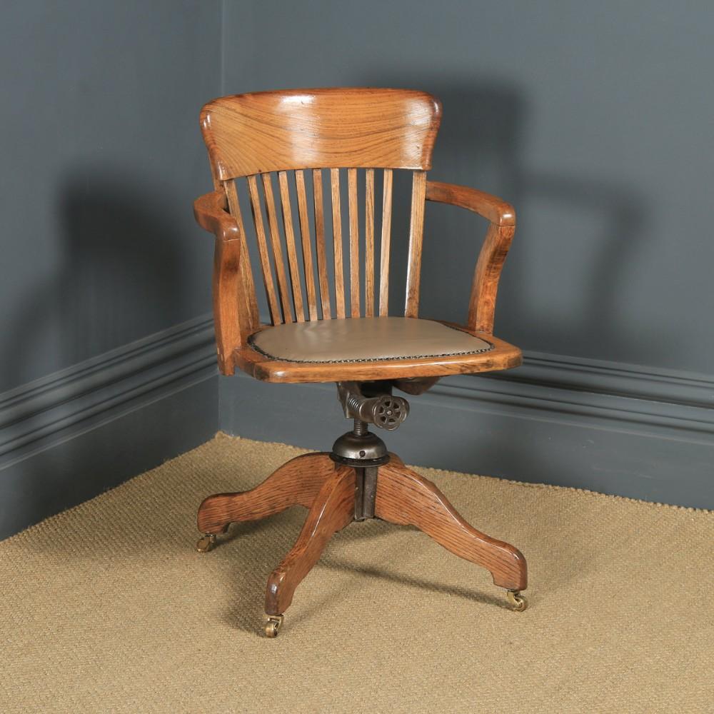 antique english edwardian oak tan brown leather revolving office desk arm chair circa 1910