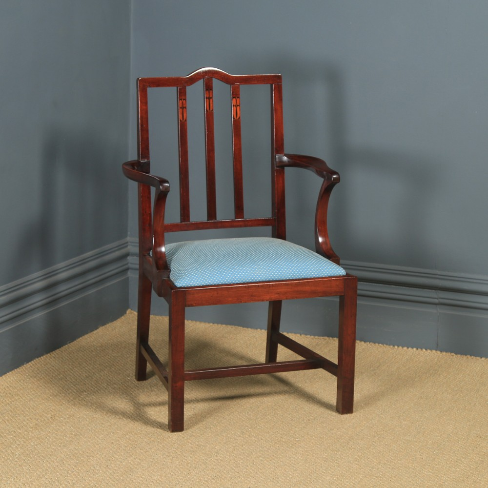 antique english victorian arts crafts mahogany inlaid open office desk dining occasional arm chair circa 1890