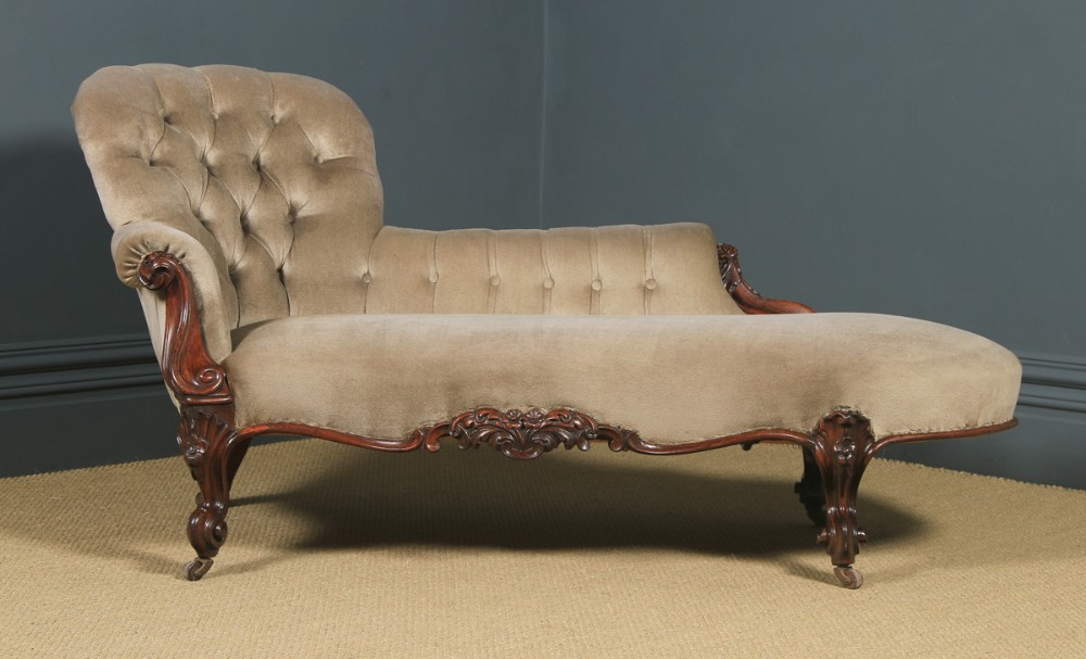 antique english victorian rosewood upholstered chaise longue sofa couch circa 1850