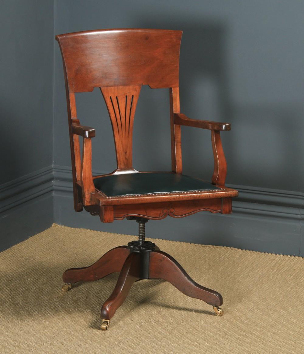 antique english edwardian art nouveau ash birch revolving office desk arm chair circa 1910