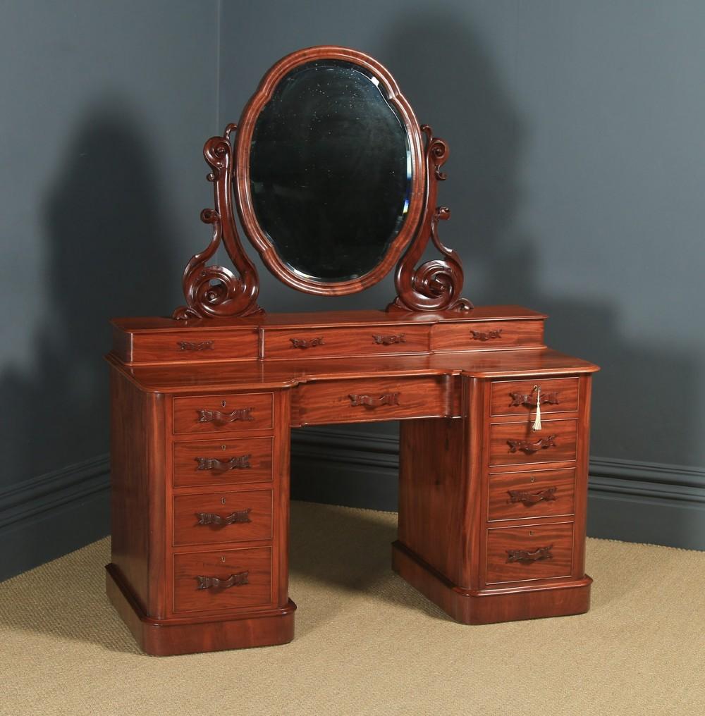 antique english victorian mahogany pedestal dressing table with mirror circa 1870