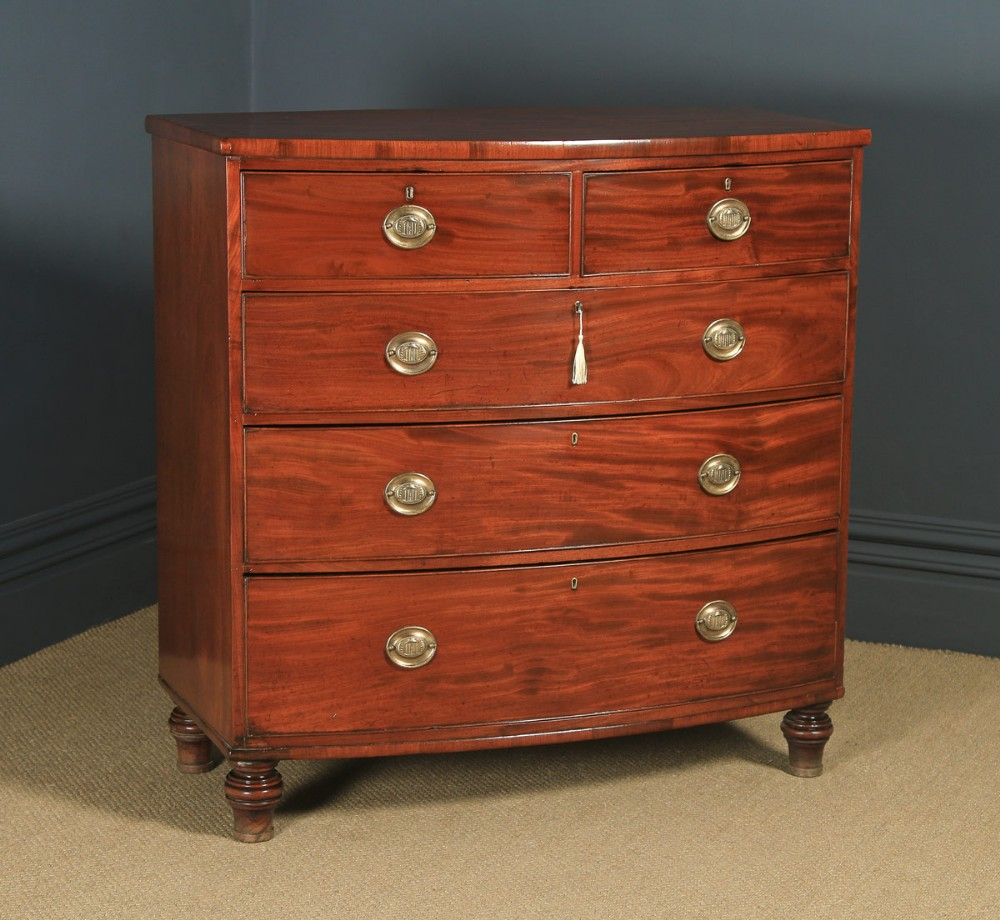 antique english georgian regency figured mahogany bow front chest of drawers circa 1820