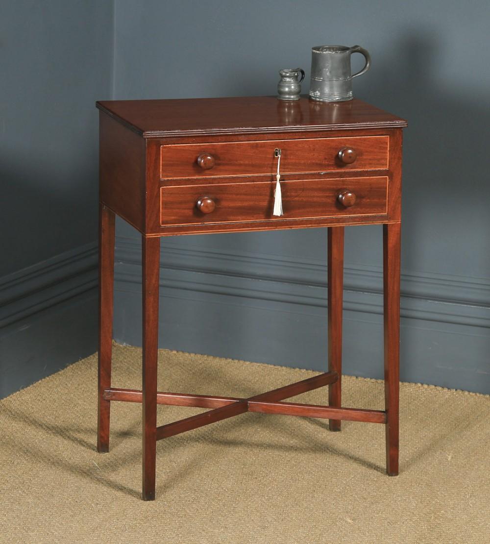 antique english georgian regency mahogany inlaid work lamp side table circa 1820