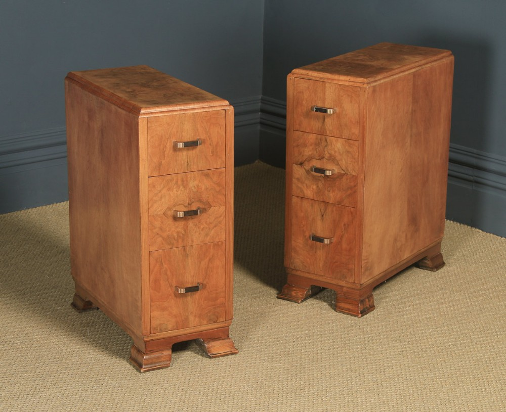 antique pair of english art deco figured walnut bedside chest tables circa 1930