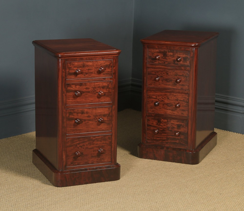 antique english pair of victorian figured mahogany bedside chests circa 1860