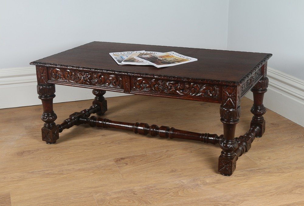 French Provincial Carved Oak Coffee Table Circa 1860 351674
