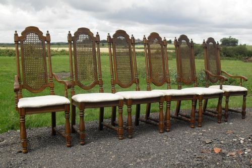 Set Of 6 Oak Colonial Style High Back Dining Chairs Antique Photo