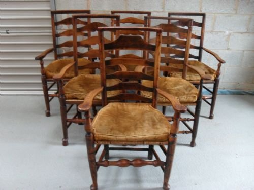 harlequin set of six oak beech 19th century carvers