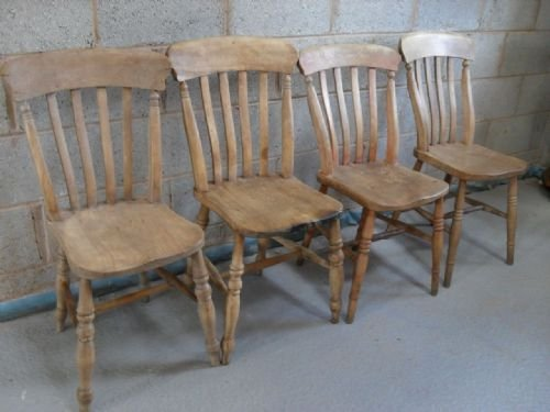 Four Old Light Elm And Beech Kitchen Dining Chairs 93062