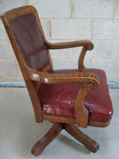 Edwardian Angus Of London Oak Swivel Desk Chair 93307 Sellingantiques C