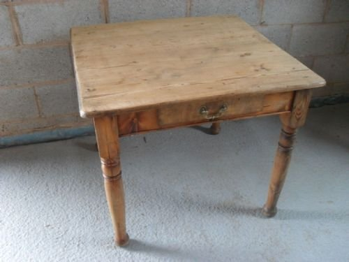 Victorian Pine Square Kitchen Table With Two Drawers 94091
