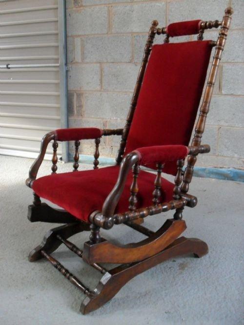 Victorian American Beechwood Turned Rocking Chair