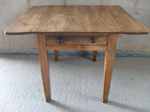 Rustic Old Pine Twin Flap Kitchen Table With Drawer 102538