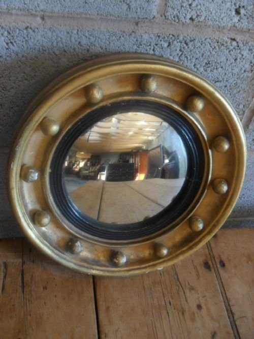 Small Regency Convex Gilt Framed Round Wall Mirror