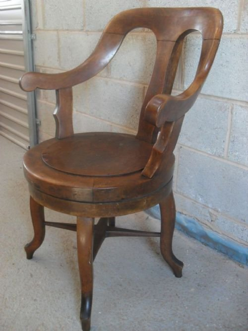 Victorian Oak Swivel Desk Chair With Scroll Arms 126708 Sellingantiques C