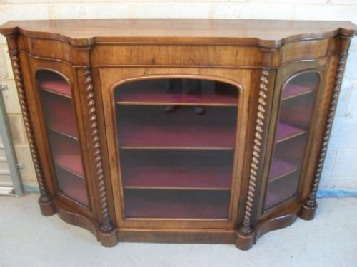 lovely shaped victorian rosewood credenza side cabinet with barley twist columns