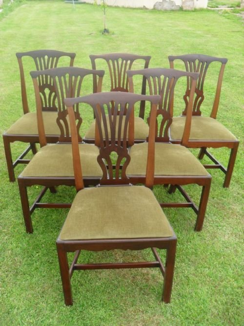 Lovely Set Of Six Mahogany Georgian Style Dining Chairs ...