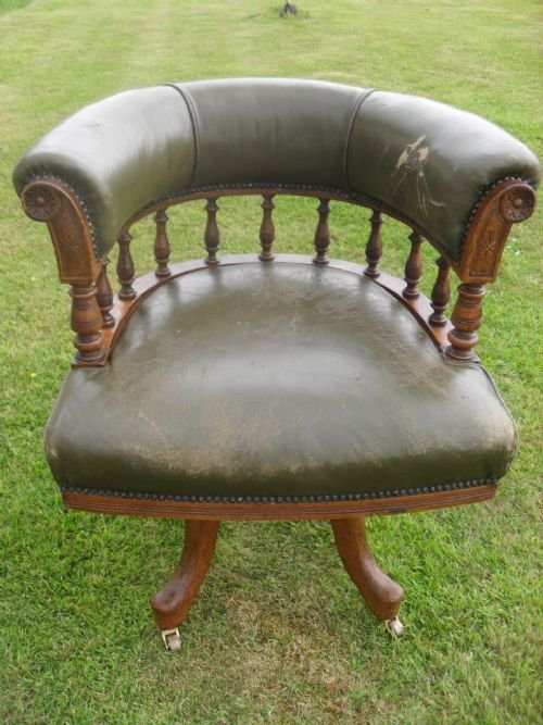 Victorian Oak And Leather Captains Swivel Desk Chair