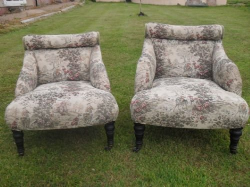 pair of edwardian scroll back upholstered nursing chairs - photo angle #2
