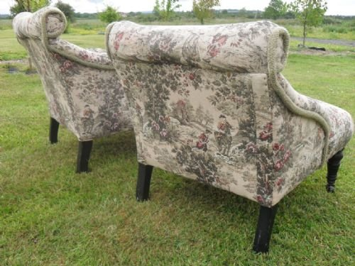 pair of edwardian scroll back upholstered nursing chairs - photo angle #3