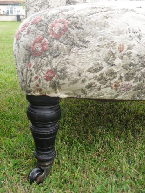 pair of edwardian scroll back upholstered nursing chairs - photo angle #4