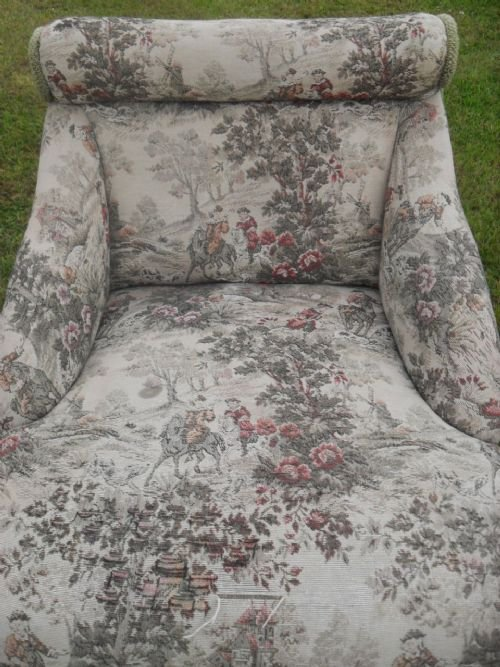 pair of edwardian scroll back upholstered nursing chairs - photo angle #5