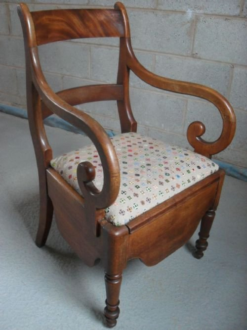 victorian mahogany scroll armed commode chair - Victorian Mahogany Scroll Armed Commode Chair 144893
