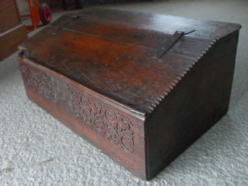 18th century oak bible box with carved frieze and three internal drawers