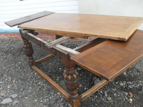 Lovely 17th Century Style Solid Oak Draw Leaf Dining Table | 151656 |  Sellingantiques.co.uk