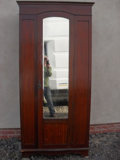 Edwardian Inlaid Mahogany Bevel Mirrored Single Door