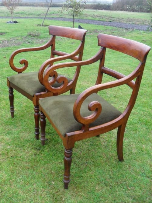 pair of georgian mahogany bar back carver open armchairs - photo angle #2